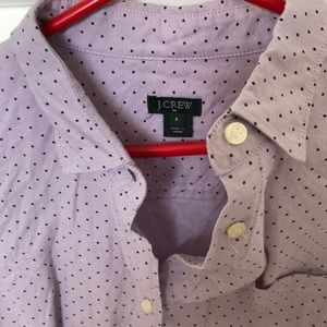 J. Crew Tops - Purple polka dot ladies fitted button down
